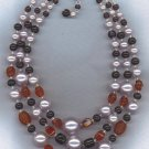 LUMINOUS SILVERY GRAY PEARL & RUBY ART GLASS BEAD VTG. NECKLACE