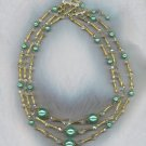 FREE SHIPPING! GORGEOUS AURORA BOREALIS CRYSTAL & PEARL 3 STRAND VTG. NECKLACE