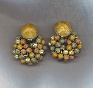 GORGEOUS SWAG BEAD VTG. EARRINGS