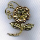 FREE SHIPPING!! HARRY ISKIN GOLD FILLED OVER STERLING FLOWER BROOCH