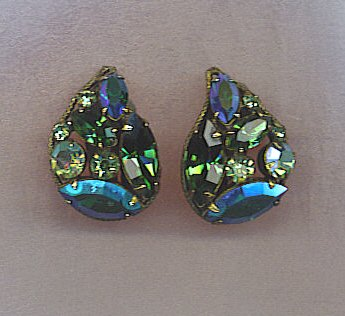 PEACOCK COLORS AB VTG. RHINESTONE EARRINGS