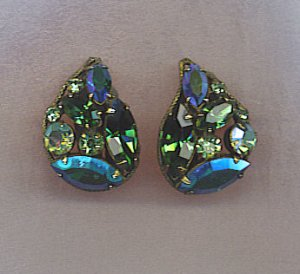 FREE SHIPPING!! PEACOCK COLORS AB VTG. RHINESTONE EARRINGS