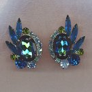 FREE SHIPPING!! AMAZING VTG. WATERMELON SAPPHIRE & AURORA BOREALIS EARRINGS