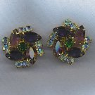 FREE SHIPPING! EXQUISITE VTG. R.S. GEM COLORS EARRINGS