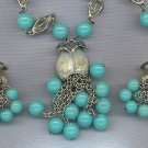 SET,, GORGEOUS 3 PIECE SET WITH VERY UNIQUE LINKS & TURQUOISE BEADS