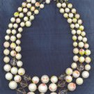 PASTEL ART GLASS BEAD 3 STRAND VTG.  NECKLACE