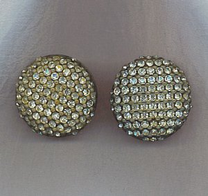 FREE SHIPPING!! SPARKLING VTG. PAVE' RHINESTONE EARRINGS