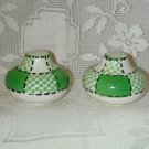 FANTASTIC VTG. GREEN & WHITE SALT & PEPPER SHAKERS