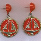 FREE SHIPPING! RED DANGLY ENAMELED EARRINGS WITH SAIL BOATS