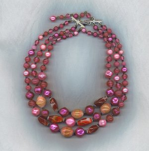 VTG. ART GLASS BEAD NECKLACE