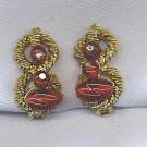 EXQUISITE VTG. BERRY COLOR BEAD EARRINGS