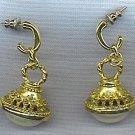 OPULENT PEARL CABOCHON DANG-LY EARRINGS, PIERCED