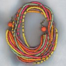 FREE SHIPPING!! SUMMERY COLORS MULTI STRAND BEAD NECKLACE