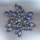 EXQUISITE VINTAGE BLUE RHINESTONE BROOCH
