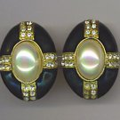 CLASSIC CABOCHON EARRINGS IN BLACK ENAMELING & RHINESTONES