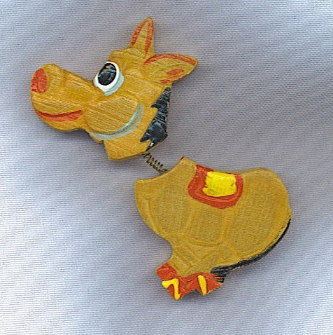 FUN VINTAGE HAND CARVED WOODEN DONKEY ARTICULATED PIN