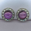 GORGEOUS PURPLE CABOCHON & RHINESTONE VTG. EARRINGS