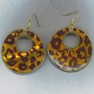 BEAUTIFUL LEOPARD PATTERN ON SHELL HOOP EARRINGS