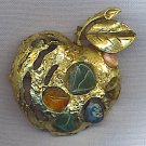 NATURAL STONE VINTAGE APPLE BROOCH
