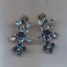 BEAUTIFUL BLUES VTG. RHINESTONE EARRINGS