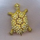 SWEET VTG. TURTLE PIN IN RHINESTONES & PEARLS ON GOLD