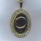 VTG. ART GLASS CABOCHON PENDANT NECKLACE