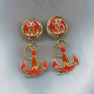 CHEERFUL VTG. ANCHOR DANGLE EARRINGS