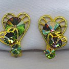 WATERMELON RIVOLI RHINESTONE VTG. EARRINGS