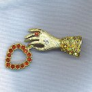 FANTASTIC VTG. HAND PIN WITH AB & RUBY RHINESTONES
