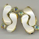 LOVELY THERMOSET VTG. & AURORA BOREALIS RHINESTONE EARRINGS