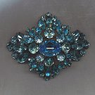 SALE!! ELEGANT VTG. AQUA BLUES R.S. BROOCH