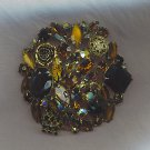 MAGNIFICENT VTG. BROOCH IN ART GLASS & GOLDS