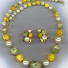 FABULOUS VTG. BEADS IN GREENS & RICH GOLDEN YELLOW