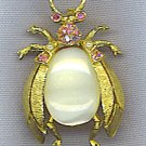 FUN BEETLE PIN WITH AURORA BOREALIS RHINESTONES