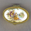 Lovely Vtg. Pill Box with Couple Painted on Porcelain