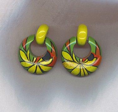 FANTASTIC HAND PAINTED PIERCED EARRINGS