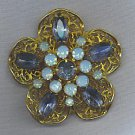 EXQUISITE VTG. BLUE RHINESTONE BROOCH