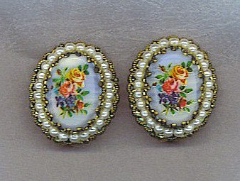 BLUE WITH ROSES VTG. EARRINGS