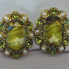 VTG. W. GERMANY EARRINGS IN ART GLASS, RHINESTONES & PEARLS