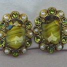 VTG. W. GERMANY EARRINGS IN ART GLASS, RHINESTONES & PEARLS