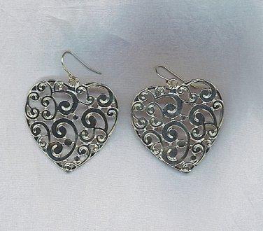 LOVELY SILVER HEART EARRINGS