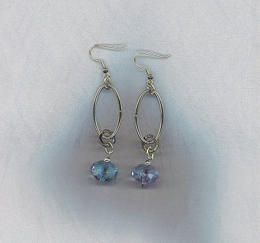 Artisan Aqua & Silver Ovals Earrings