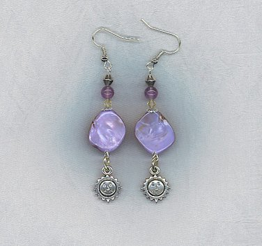 Gorgeous Lavender Dyed Shell Artisan Earrings