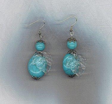 Beautiful Artisan Turquoise & Leaf Earrings