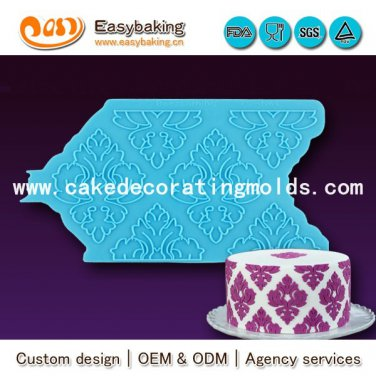 Silicone Onlays Damask 3D Stencil for Arts & Crafts Cake Decorating mold