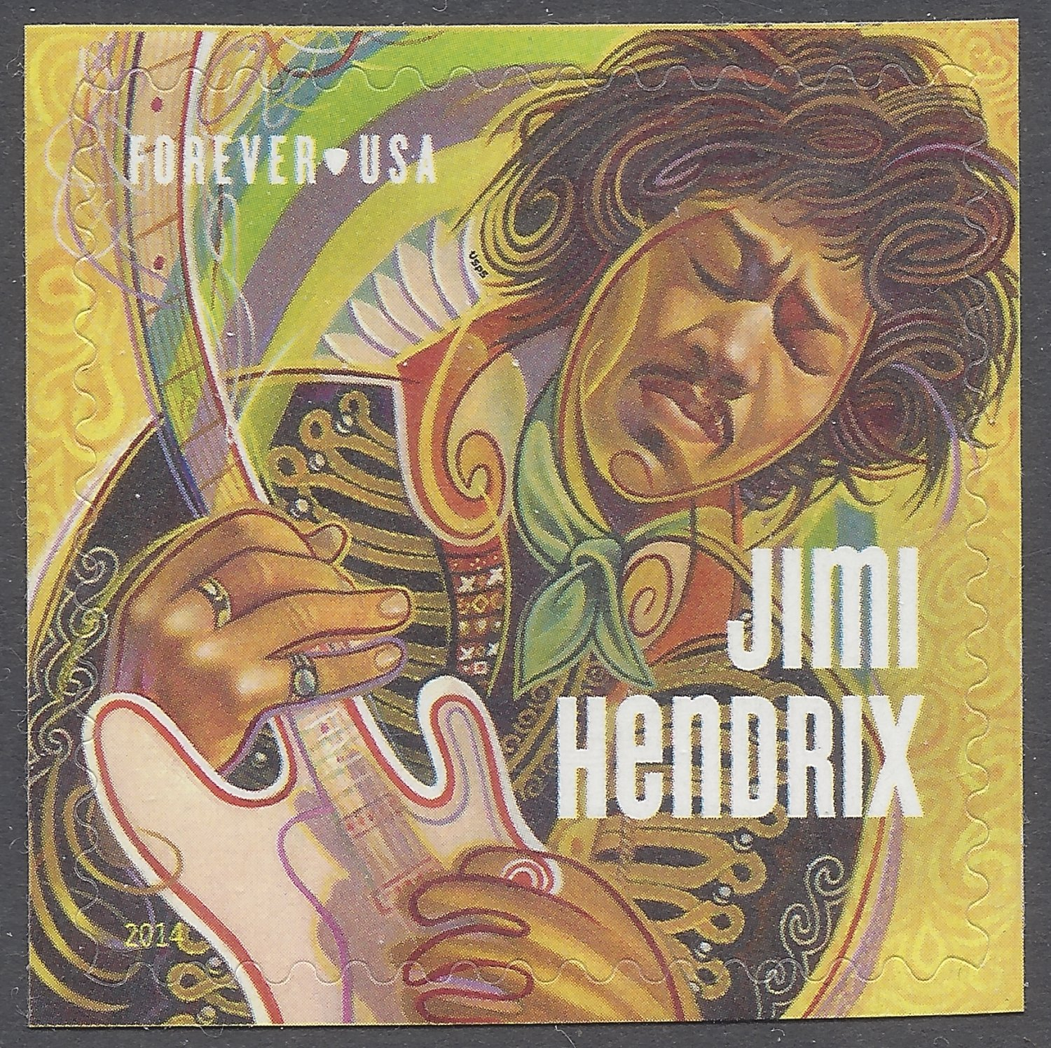 #4880 (49c Forever) Jimi Hendrix Single Mint NH