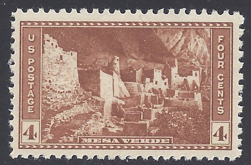 #743 4c National Parks Issue: Cliff Palace 1934 Mint NH