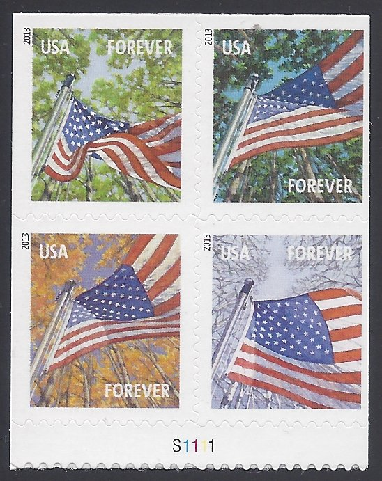 #4782-4785 (46c Forever) Flags for All Seasons PB/4 2013 MNH