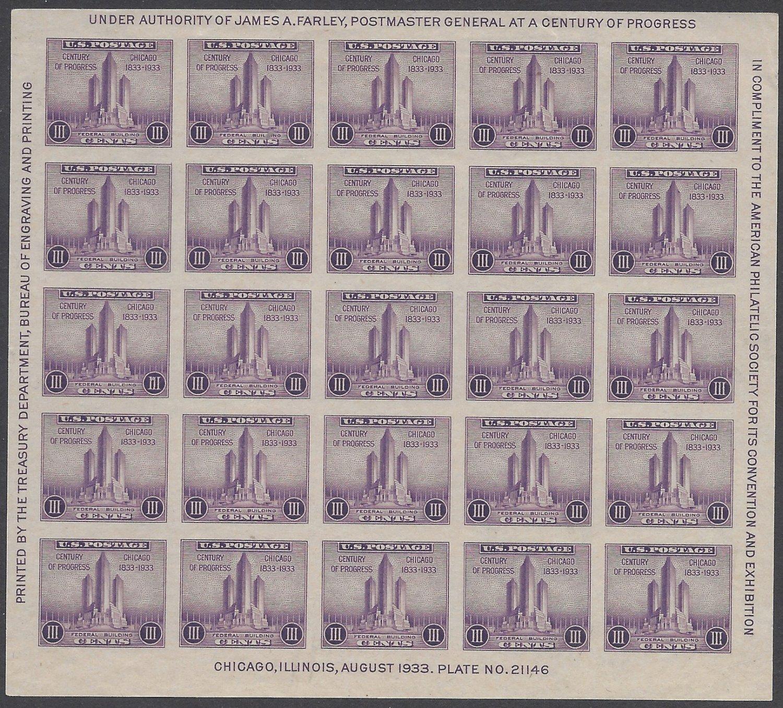 #731 3c Century of Progress Souvenir Sheet of 25 Mint NH