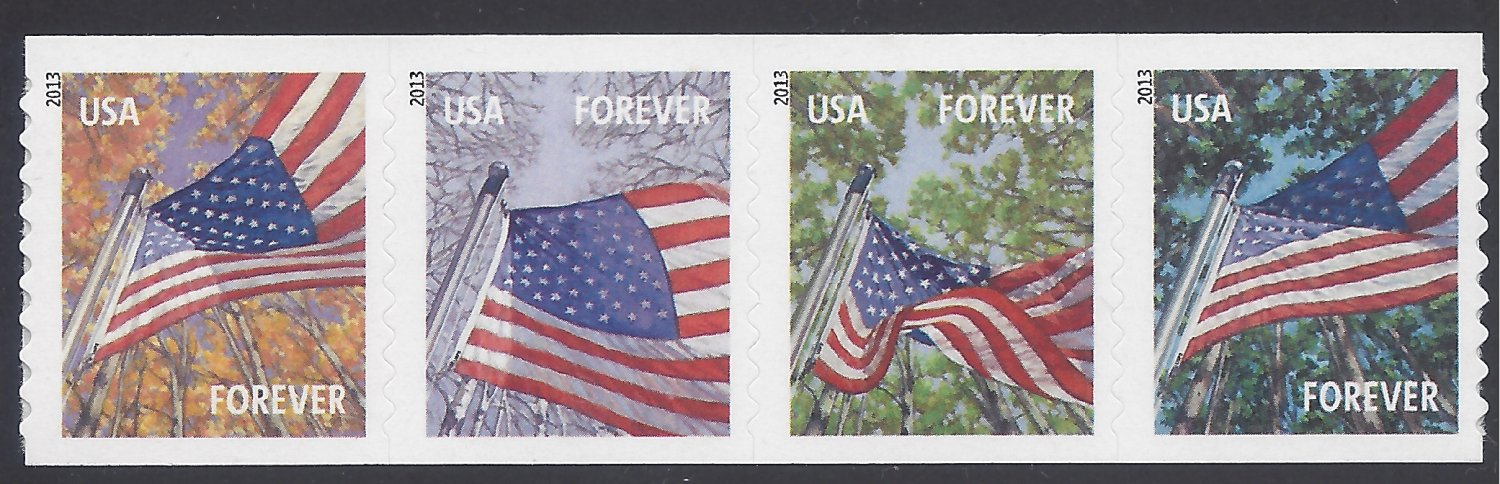 #4770-4773 (46c Forever) Flags for all Seasons Coil Strip of 4 2013 MNH